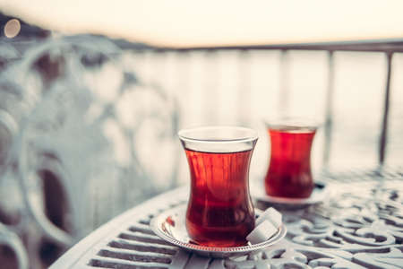 bosphorus: Turkish tea is served in a cafe with Bosphorus view in Istanbul, Turkey.