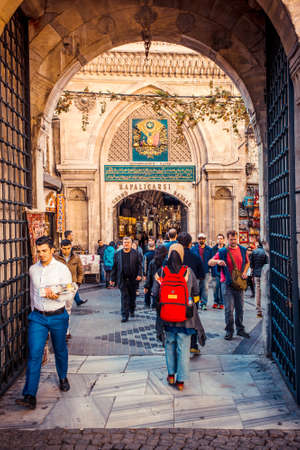 grand sale: ISTANBUL, TURKEY -  october 26, 2014: Entrance of Grand Bazaar in Istanbul, Turkey. Editorial