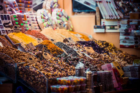 spice market: ISTANBUL, TURKEY -  october 26, 2014: Spices and tea on display at Spice market in Istanbul, Turkey.