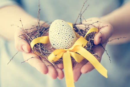 Hands holding modern painted easter egg in a small nest. Toned picture