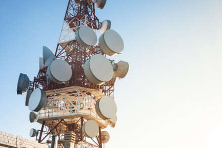 telecommunication equipment: Telecommunication tower. Toned picture Stock Photo