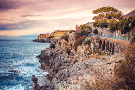 garibaldi: Promenade Anita Garibaldi high on the rocky coast in Genoa Nervi, Italy