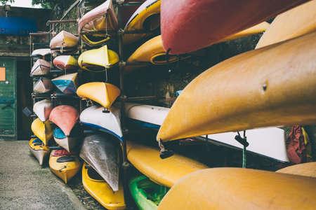 toned: Old kayak station. Toned image