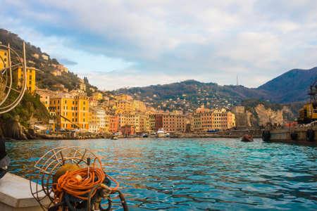 italian village: View of a bay of Camogli from sailor boat, Liguria region, Italy
