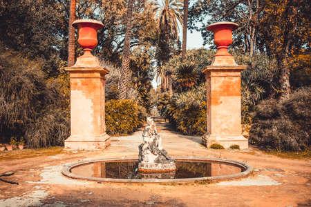 palermo: Sculpture in botanical garden in Palermo, Sicily