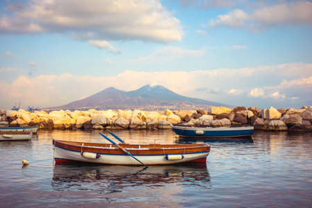 stratovolcano: The view on the mount and volcano Vesuvius in evening in the Gulf of Naples, Italy
