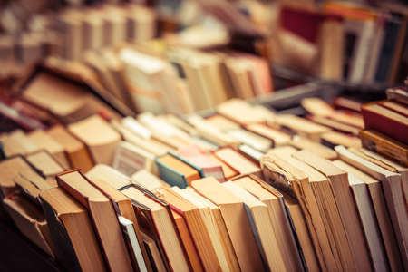 book shelf: Many old books in a book shop or library
