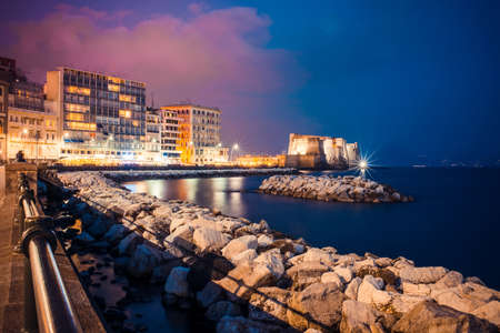 napoli: Wonderful view of embankment in Naples, Italy by night
