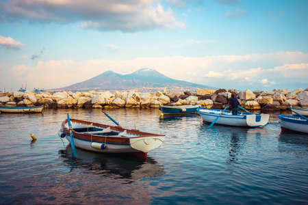 The view on the mount and volcano Vesuvius in evening in the Gulf of Naples, Italy