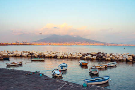 napoli: The view on the mount and volcano Vesuvius in evening in the Gulf of Naples, Italy