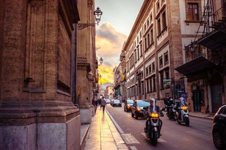 vittorio emanuele: PALERMO, ITALY - MARCH 14, 2015: Famous Vittorio Emanuele street at sunset in Palermo, Italy