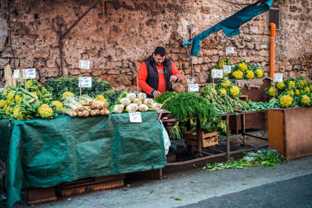 palermo italy: PALERMO, ITALY - MARCH 13, 2015:  Grocery shop at famous local market Ballaro in Palermo, Italy