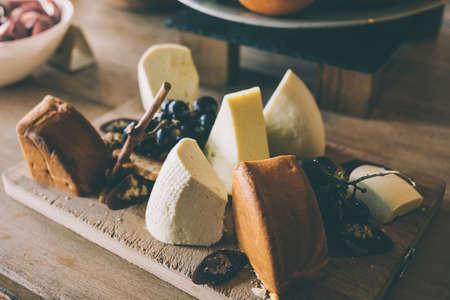 georgian: Various sorts of georgian cheese. Toned image