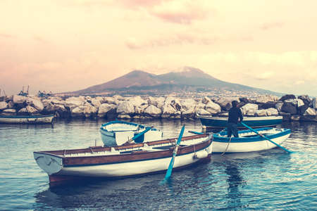 napoli: The view on the mount and volcano Vesuvius in the Gulf of Naples, Italy. Toned image Stock Photo