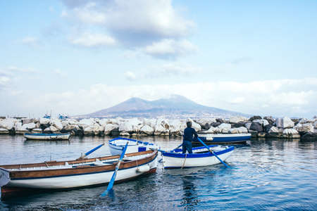 stratovolcano: The view on the mount and volcano Vesuvius in the Gulf of Naples, Italy.