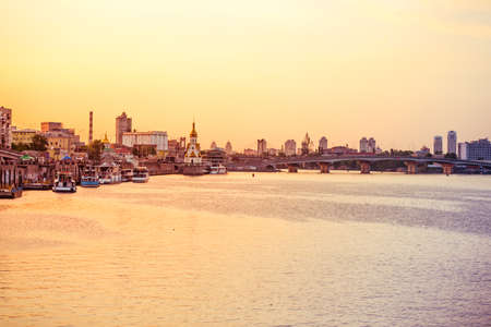 dnieper: View on the Drepr (Dnieper) river and cityscape at evening in Kiev, Ukraine