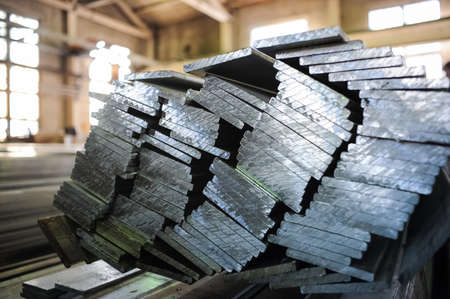 Stacked aluminum metal sheets. Stock Photo