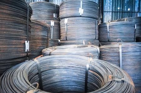 aluminum rod: Rolls of aluminum metal fittings (steel armature). Heavy industry production