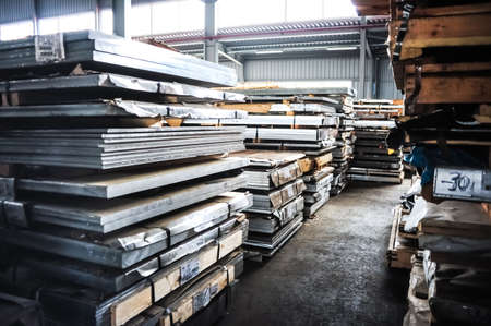 sheet metal: MOSCOW, RUSSIA - CIRCA MAY, 2011: Stacked aluminum sheets in russian smelting plant Most-1, based in Moscow, Russia