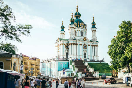 KIEV (KYIV), UKRAINE - MAY 25, 2015:  The St Andrews Church, situated on a steep hill, on the top of Andrews Descent