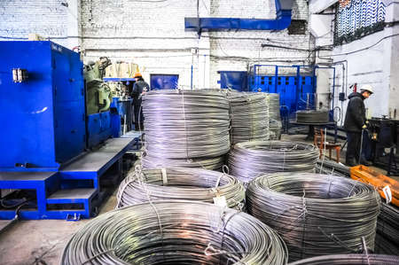 steel wire: MOSCOW, RUSSIA - CIRCA APRIL, 2011: Rolls of fittings (armature) produced by Hrombur steel plant, based in Moscow, Russia