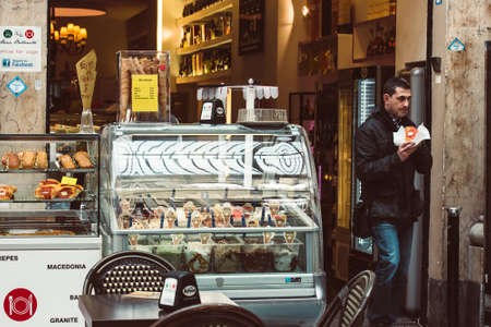 NAPLES, ITALY - MARCH 20, 2015: Small cafe in Galeria Umberto I in Naples, Italy