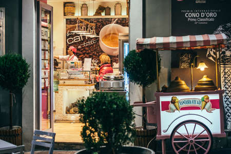 NAPLES, ITALY - MARCH 20, 2015: Small cafe in Naples, Italy