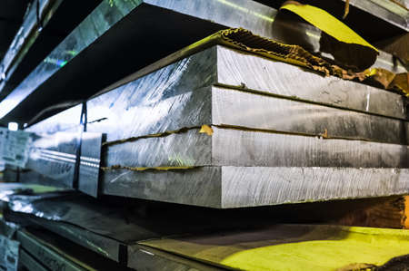 MOSCOW, RUSSIA - CIRCA MAY, 2011: Stacked aluminum sheets in russian smelting plant Most-1, based in Moscow, Russia