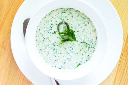 sour milk: Tarator, bulgarian summer cold sour milk and cucumbers soup Stock Photo