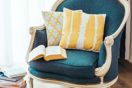tiny: Cozy armchair with open book and decorative pillows. Interior and home decor concept