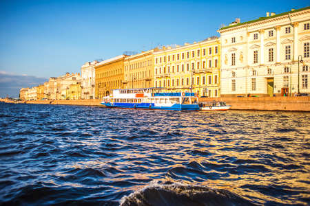 neva: Embankment of Neva River in Saint Petersburg. Russia Stock Photo