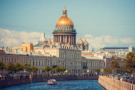The dome of St Isaac's Cathedral in Saint Petersburg, Russia