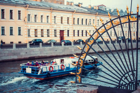 river: Fence of Summer garden park in front of Moyka river in Saint Petersburg, Russia