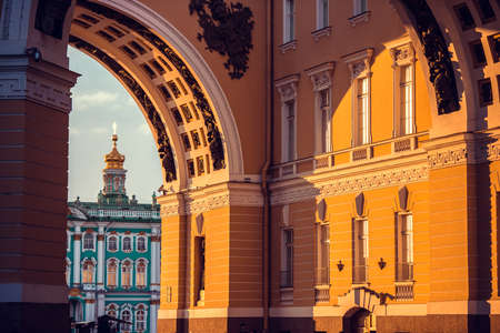senate: Winter Palace view through Senate Arch in Saint Petersburg, Russia Editorial