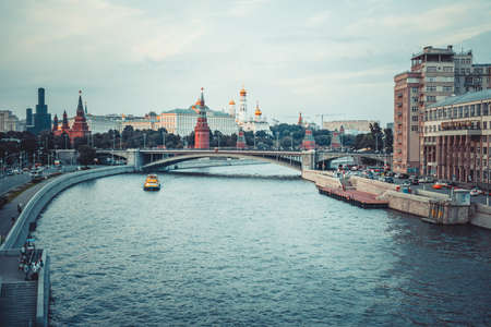 moskva river: Famous Kremlin and Moskva river in Moscow, Russia Stock Photo