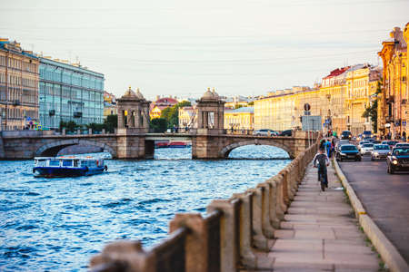 Staro-Kalinkin Bridge on Fontanka river in Saint Petersburg, Russia. Toned image 写真素材