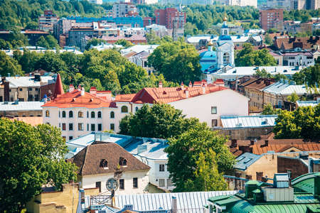 vyborg: View from castle on old buildings of Vyborg, Russia
