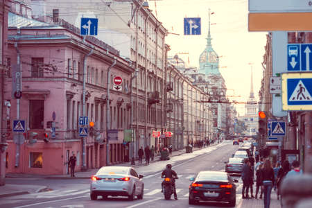saint petersburg: View on Gorokhovaya street in Saint Petersburg, Russia. Toned picture