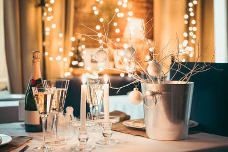Christmas or New Year party table Imagens