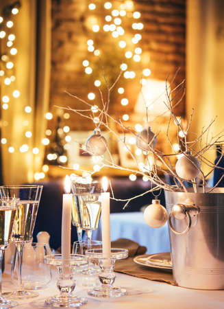 Christmas or New Year party table Archivio Fotografico
