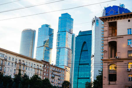 international business: Skyscrapers of Moscow City international business centre. View from Kutuzovsky avenue in Moscow, Russia. Stock Photo