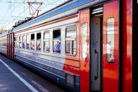 russian: An electric train at a platform in suburbs of Moscow