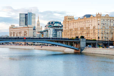moskva river: MOSCOW, RUSSIA - AUGUST 15, 2015: View of Moscow city centre with Moskva river quay and metro-bridge in the evening in Moscow, Russia Editorial