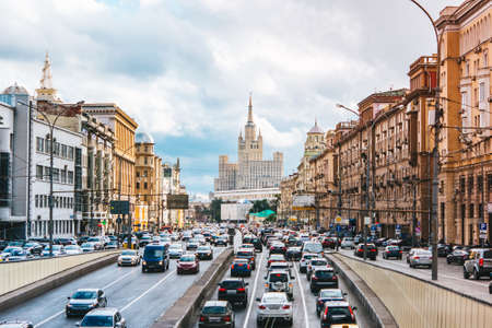 View of Sadovoye ring road with car traffic jam in Moscow, Russia