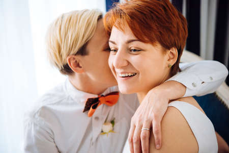 adult sex: Close up of a beautiful lesbian couple. Gay marriage concept.