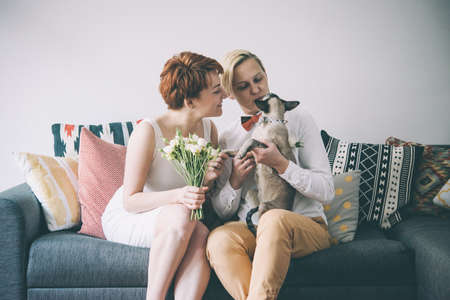 romantic sex: Cute lesbian couple in wedding outfits sitting with their cat. Gay marriage concept. Toned picture