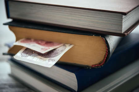 literatures: Pile of books and turkish lira bills