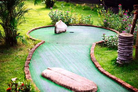 mini: Mini golf club decorated in thai style Stock Photo