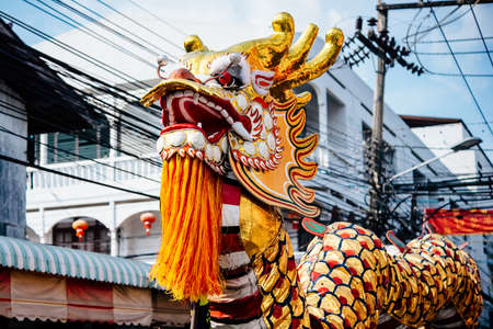 thai dance: Chinese dragon during the celebration of traditional Chinese New year holiday