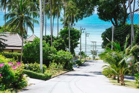 koh samui: View of a village street and the sea at Koh Samui, Thailand